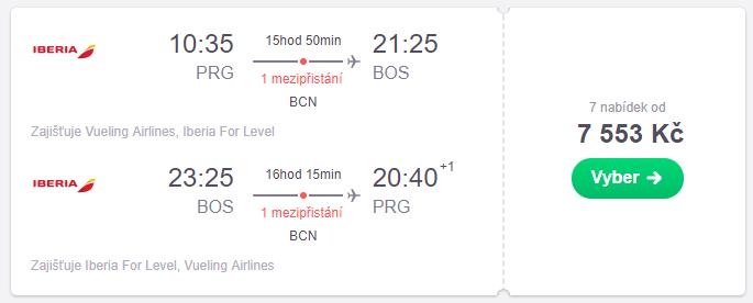 Letenky Praha - Boston od 7.550 Kč