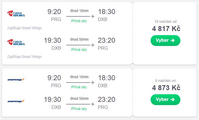 Letenky Praha - Dubaj v lednu od 4.800 Kč