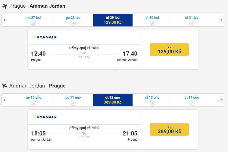 Letenky z Prahy do Jordánska jen za 518 Kč