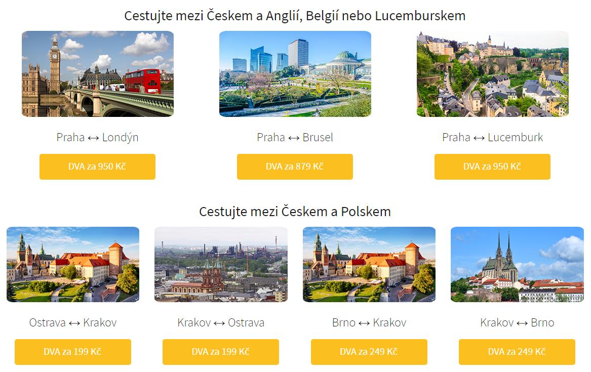 RegioJet 1+1 jízdenka zdarma - nově Anglie, Belgie nebo Lucembursko a Polsko